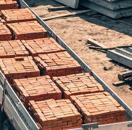 laden: trailer laden by bricks Stock Photo