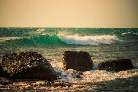 thundering: stone beach at storm