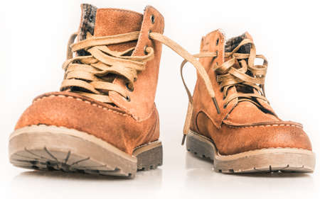 the hiking boots, isolated