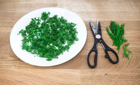 plateful: still-life with the dill Stock Photo