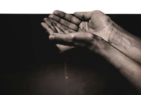 smeary: hands in oil Stock Photo