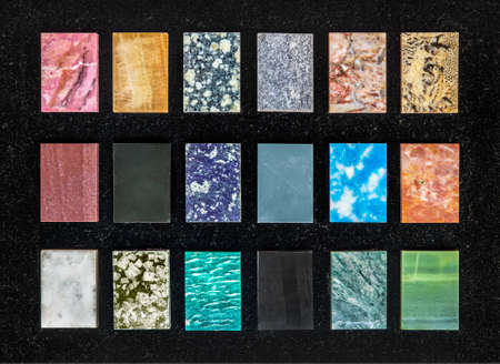 amazonite: swatches of decorative gemstones (the forms, details and color here is overprocessed) Stock Photo