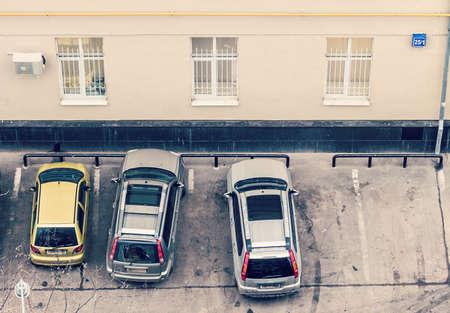 dirty car: cars near office