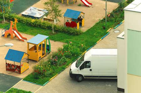 delivery van is unloading in kindergarten Stockfoto