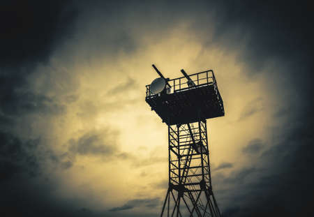 navigate tower at bad weather Stock Photo