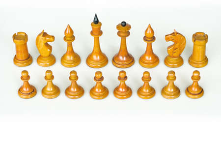 vintage wooden white chess figures
