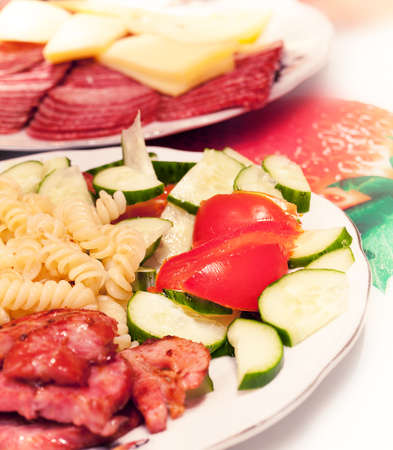 dinner meals on plates Stock Photo
