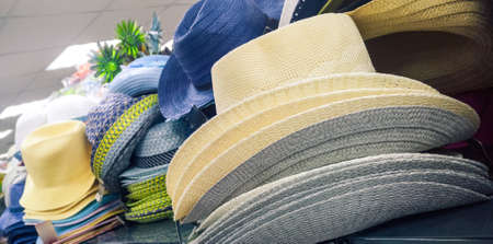 straw hats at sale Stock Photo