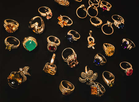 many golden finger-rings 版權商用圖片