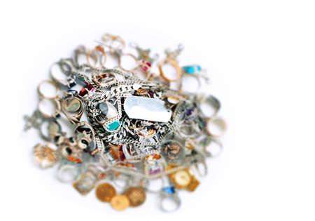 bijoux en or et argent, macro Banque d'images