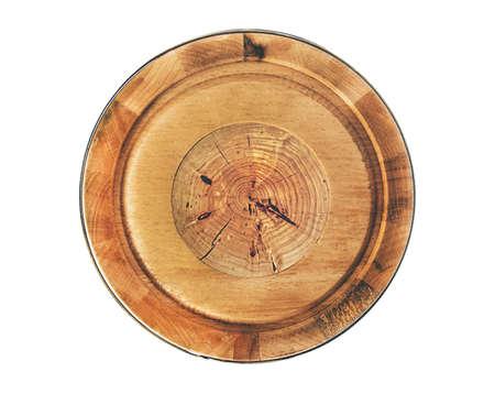 the round wooden item Banco de Imagens