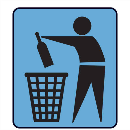 No litter or separately recycle-bin sign Ilustrace