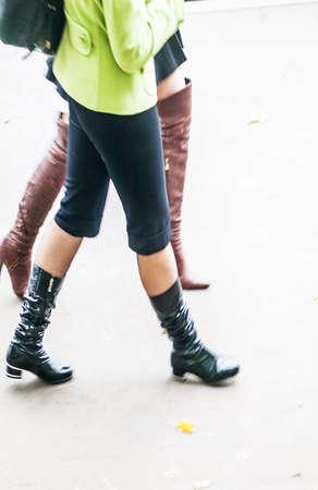 urban fashionable women at autumn