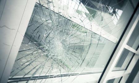 gebroken gevelglas Stockfoto