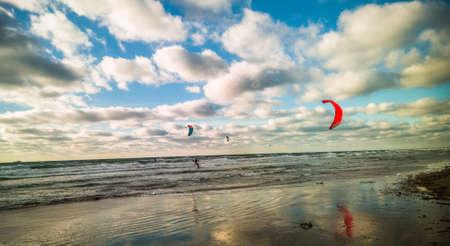 seascape with kite- serfers Stock Photo