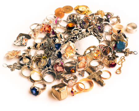 used assorted jewelry, on white