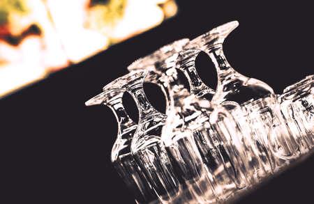 empty bar wineglasses; close up