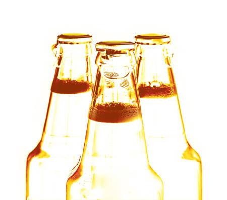 beer bottles in the back light Stock Photo