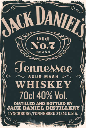 old label of the whiskey Jack Daniels No. 7, isolated