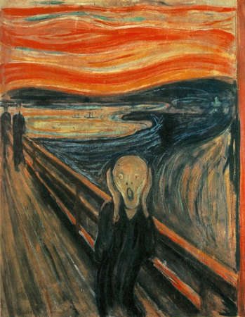 Oslo, Norway - April 04, 2020: the Scream by Edvard Munch, 1893. Cardboard, oil, tempera, pastel. Picture is presented in The National Gallery