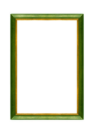 green wooden frame, isolated on white
