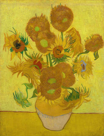 Sunflowers On Yellow Background by Van Gogh, 1889. the Van Gogh Museum, Amsterdam