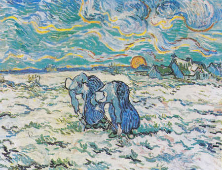 Reproduction of The Two Peasant Women Digging In A Snow-covered Field At Sunset, by Van Gogh after Jean-François Millet, 1890. E.G. Buhrle museum in Zurich, Switzerland