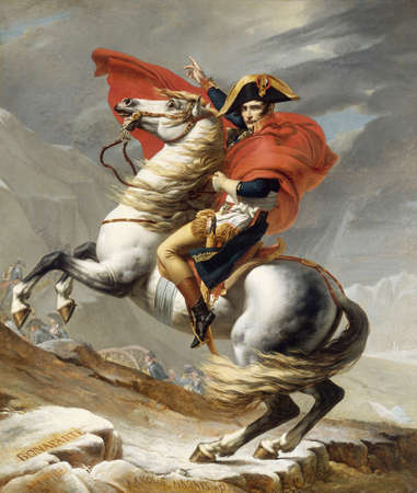 Napoleon Bonaparte Crossing the Alps by Jacques-Louis David, 1805. location this canvas unknown