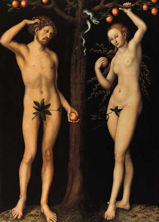 My digitally altered of The Adam And Eve by Unknown from 1530. Canvas in Norton Simon Museum in Los Angeles, USA