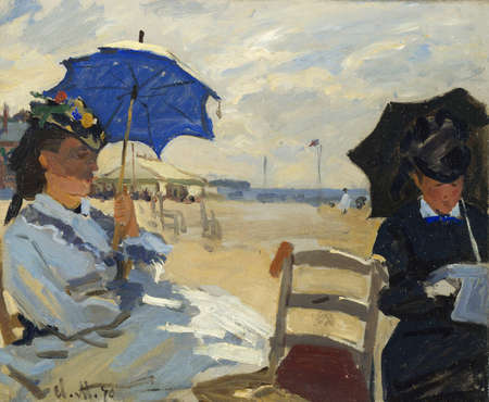 the Trouville Beach by Claude Monet 1870. the London National Gallery