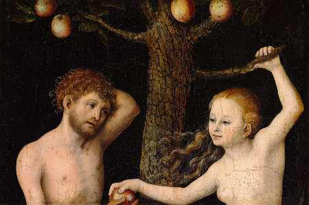 Adam And Eve 1530. oil on wood. the Royal Castle in Warsaw Editorial