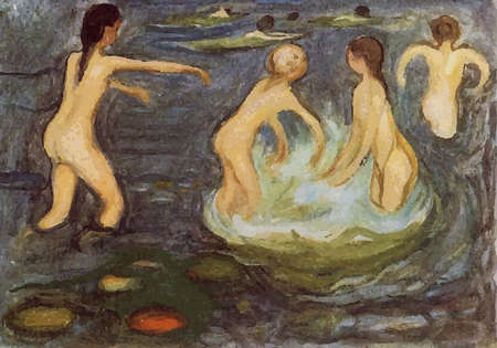 digitally altered The Bathing Girls  by Edvard Munch 1899. the Munch Museum in Oslo, Norway
