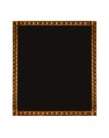 empty black canvas within golden wooden frame, isolated
