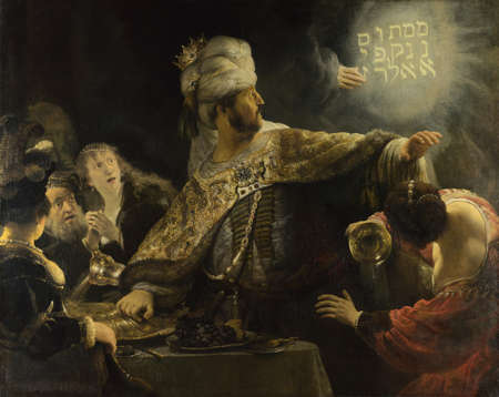 the Belshazzars Feast by Rembrandt Van Rijn 1635. the National Gallery in London, UK Editorial