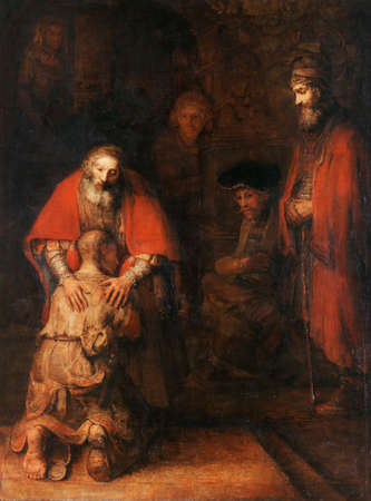 the Return of Prodigal Son by Rembrandt Van Rijn 1669. Hermitage Museum in Saint Petersburg, Russia