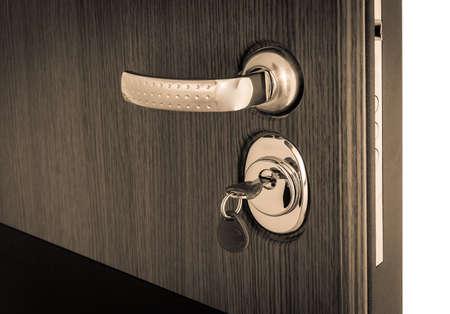 open door with reinforced key mechanism