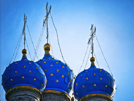 Cupolas of a Kazan Icon Of The Mother Of God cathedral in Kolomensky, Moscow, Russia