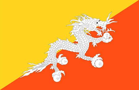 close up flag of Bhutan