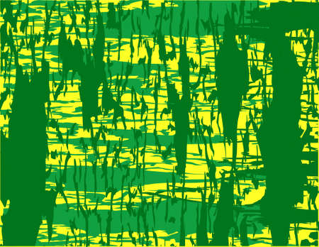 greens on yellow abstract framed background