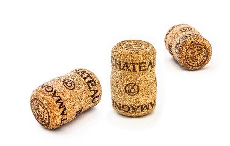 Russia 2020: wine corks Chateau Tamagne on white 新闻类图片