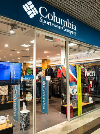 Russia 2020: storefront of the Columbia worldwide sportswear store