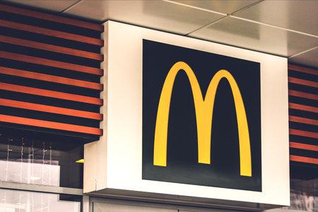 2020: logo sign of McDonalds fast food restaurant