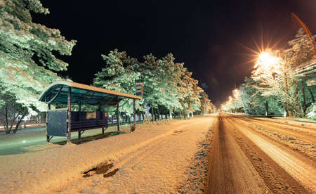 winter town road with bus-stop at night