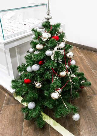 Jewelry shop interior with Christmas tree