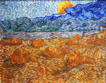 the Wheat Fields by Vincent Van Gogh 1889. Kroller-Muller Museum in Otterlo, Netherlands