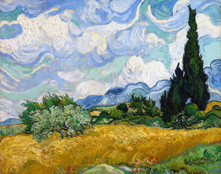 Wheat Field With Cypress by Vincent Van Gogh 1889. Metropolitan Museum Of Art in New York, USA