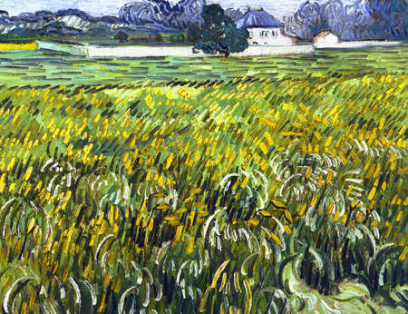 the Wheat Field At Auvers With White House by Vincent Van Gogh 1890. the Phillips Collection in Washington, USA