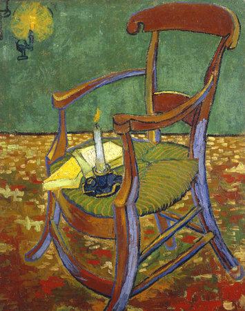 the Paul Gauguins Armchair by Vincent Van Gogh 1888. Van Gogh Museum in Amsterdam, Netherlands
