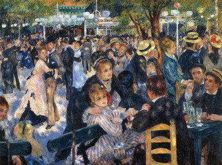 the Dance At Le Moulin De Galette by Pierre-Auguste Renoir 1876. Museum Orsay in Paris, France 新闻类图片
