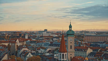 Beautiful panorama of Munich city centre at sunset - Marienplatz, Old and New Town Hall